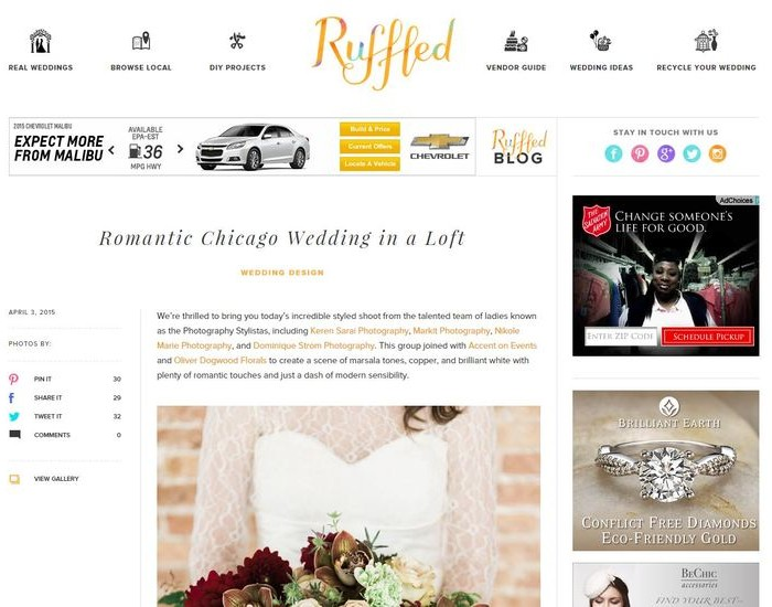 ruffled | chicago loft winter wedding | press